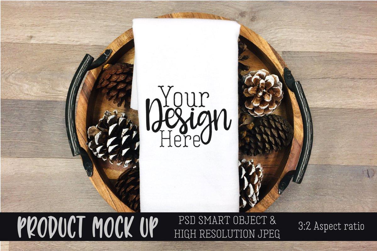 Flour sack tea towel pinecone craft mock up | PSD & JPEG example image 1