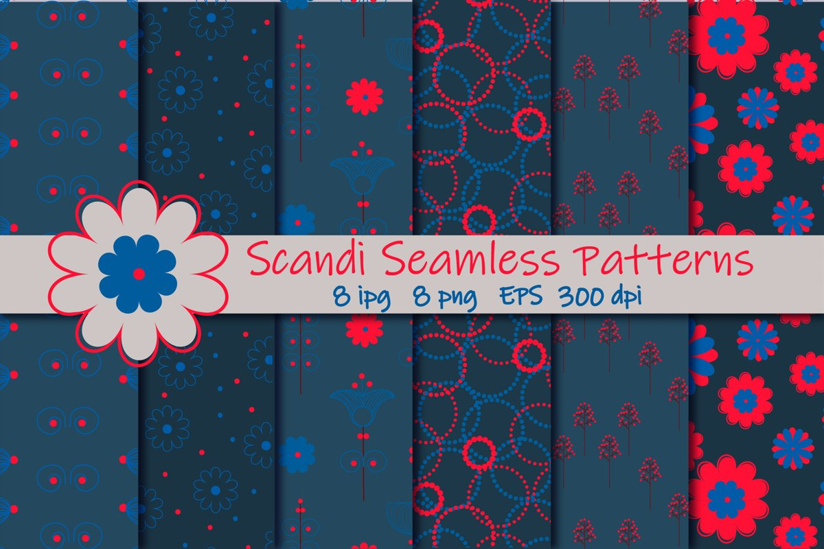 Scandi Flower bundle.Seamless pattern of Scandinavian flower example image 1