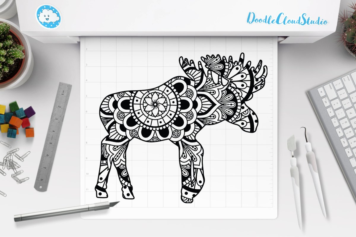 Moose Mandala SVG Cut Files, Moose Mandala Clipart ...