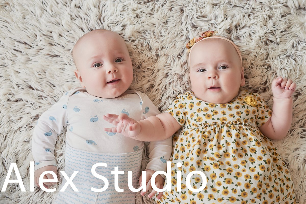 Cute newborn twins baby boy and girl example image 1