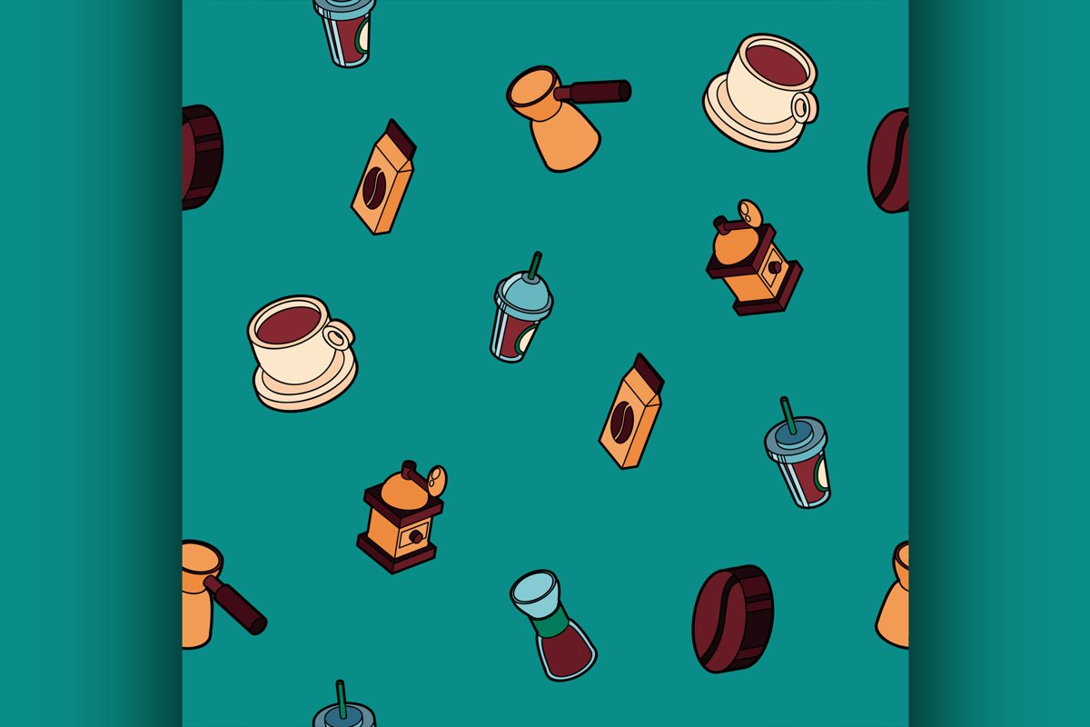 Coffee colored outline isometric pattern example image 1