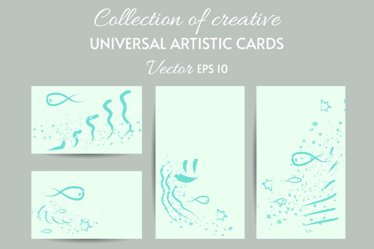 ART painting card templates SET eps 10 example image 1