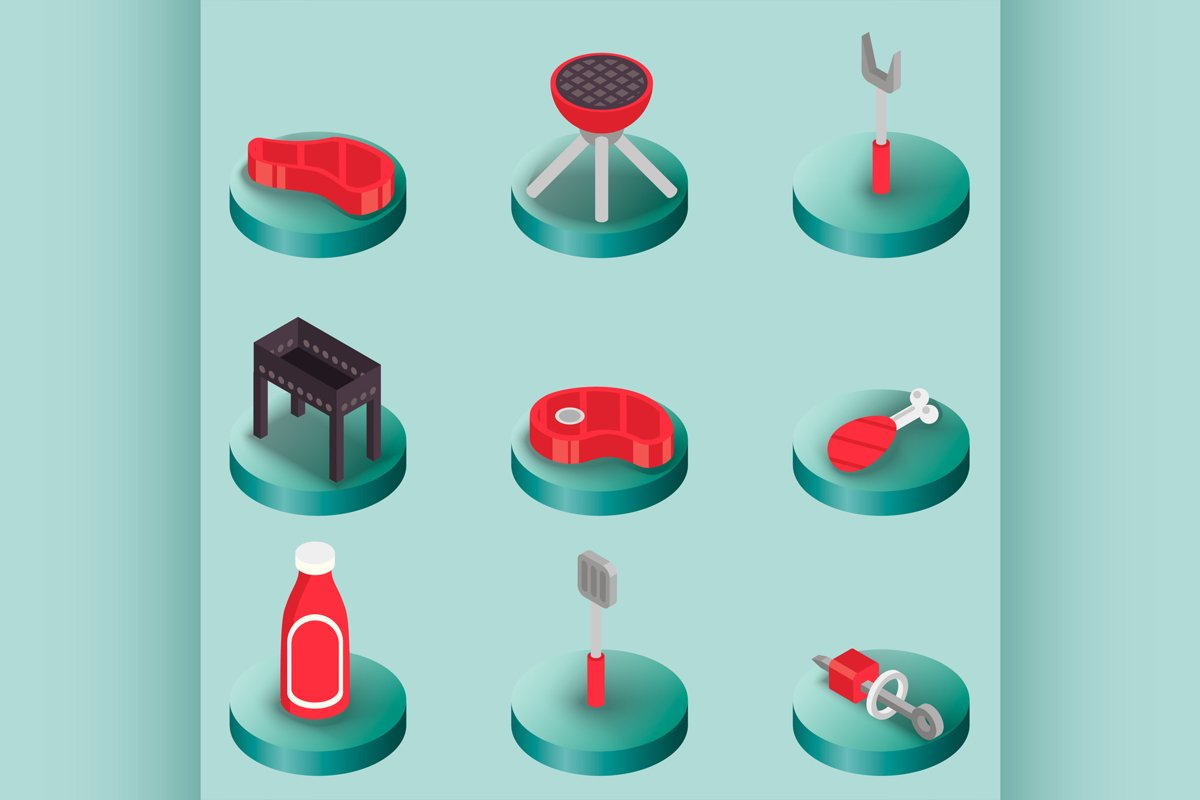 BBQ color isometric icons example image 1