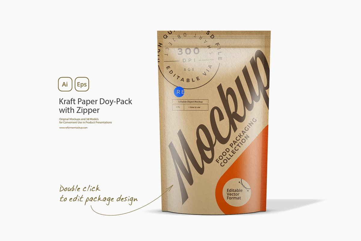 Kraft Paper Doy-Pack with Zipper example image 1