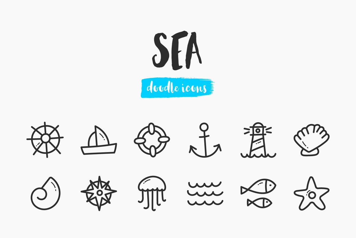 Sea Hand-Drawn Doodle Icons example image 1