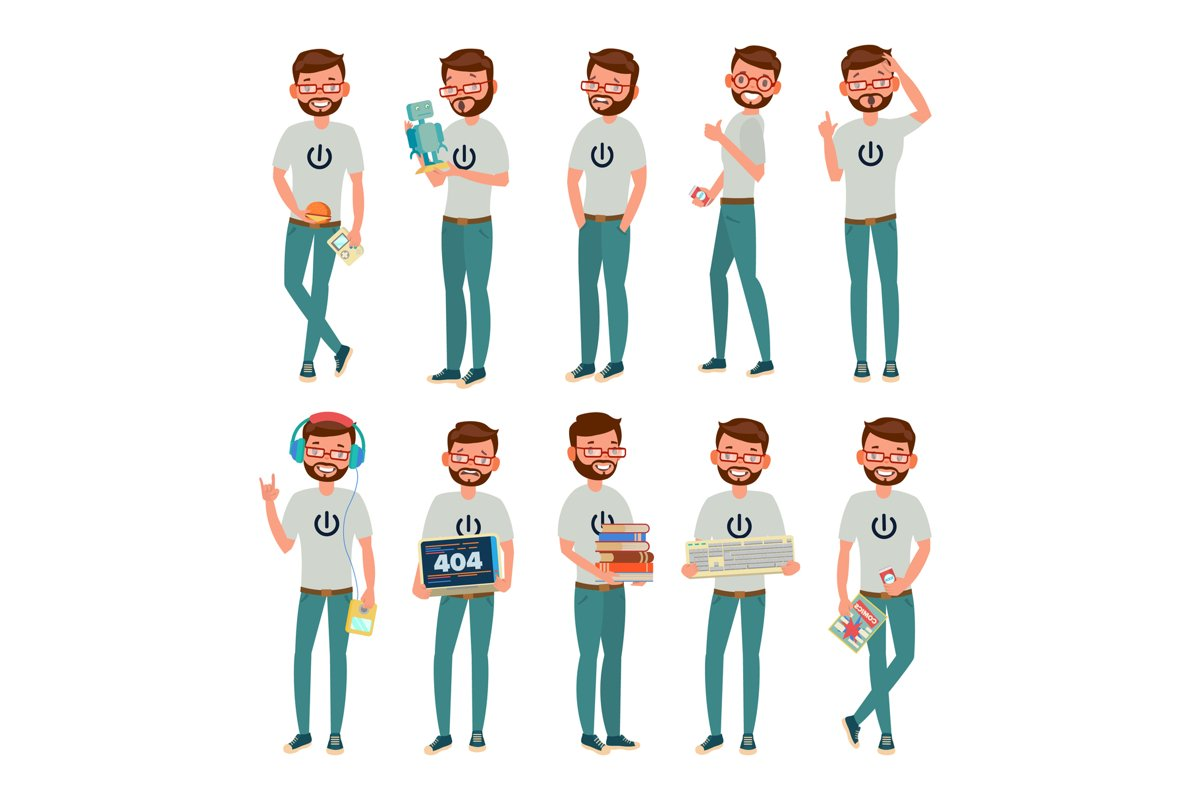 Geek Vector. Man. Isolated Flat Cartoon Character example image 1