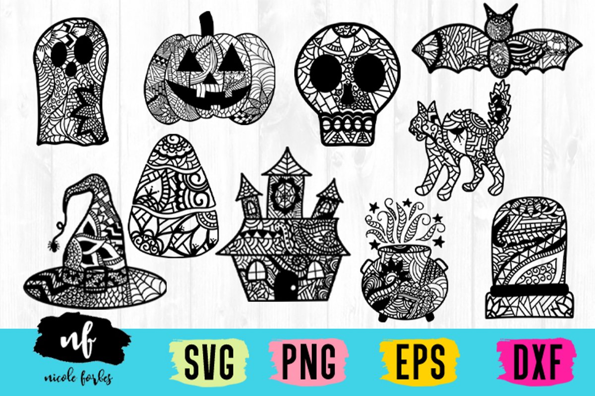 Halloween Zentagle SVG Bundle example image 1