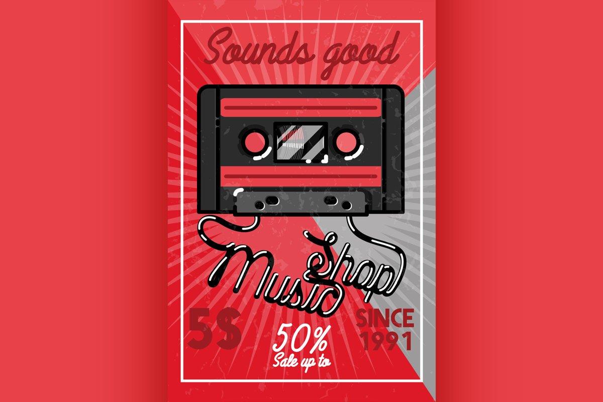 Color vintage music shop banner example image 1