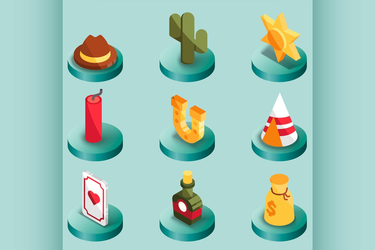 Wild west color isometric icons example image 1