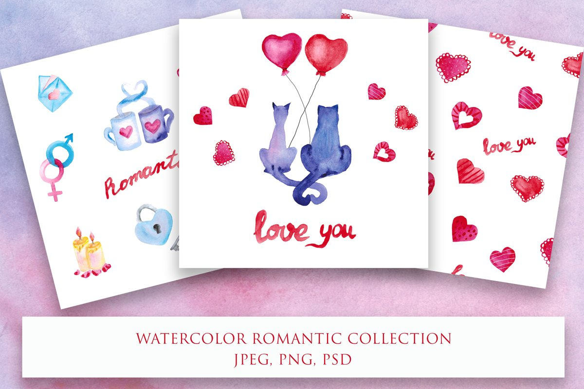 Watercolor romantic collection example image 1