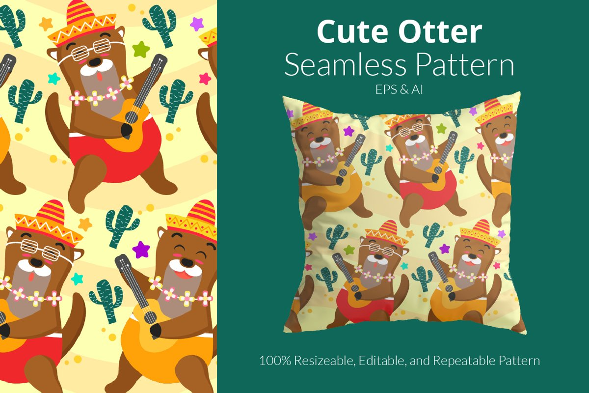 Cute Otter Pattern - Seamless Pattern example image 1