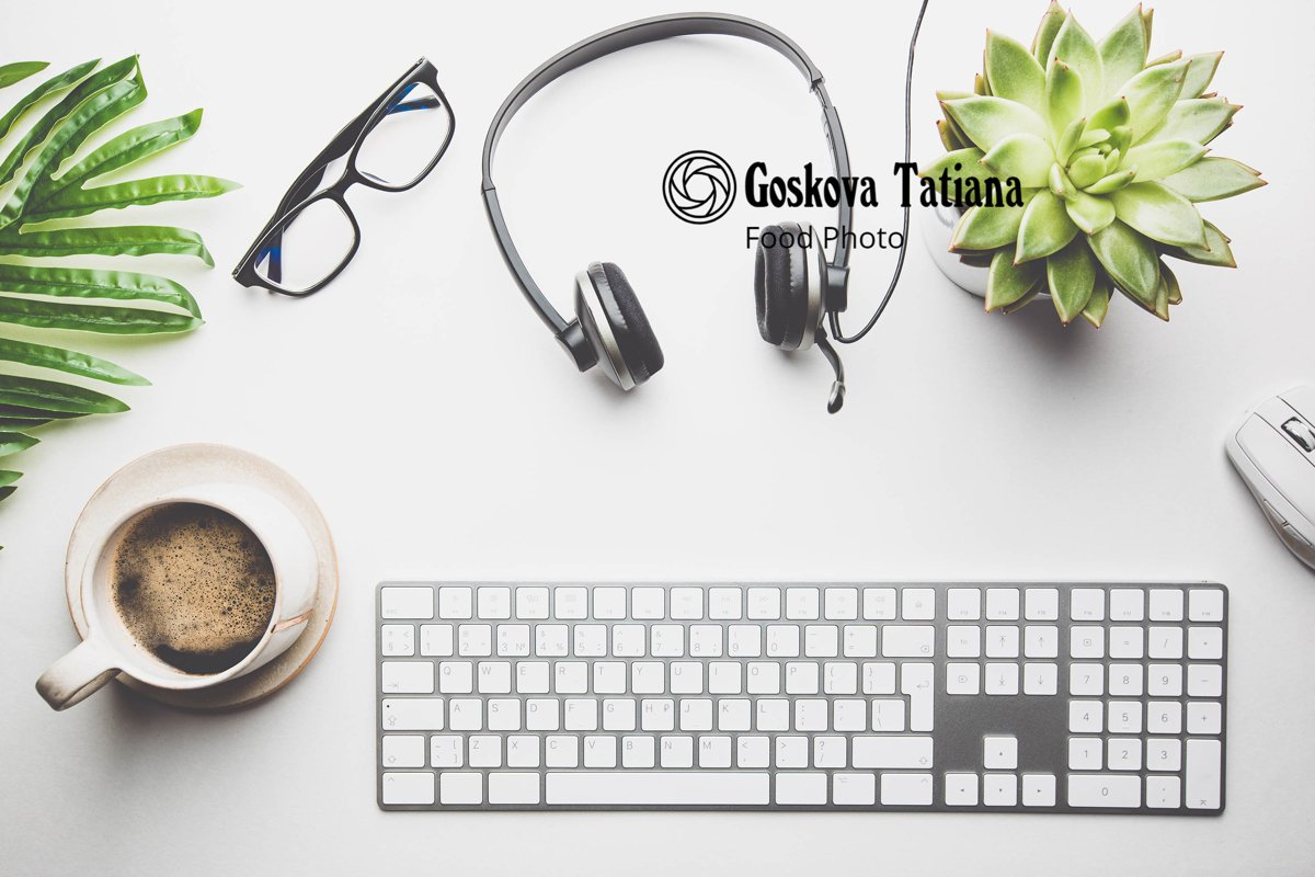 Photo of Home office desk workspace with Headphones example image 1