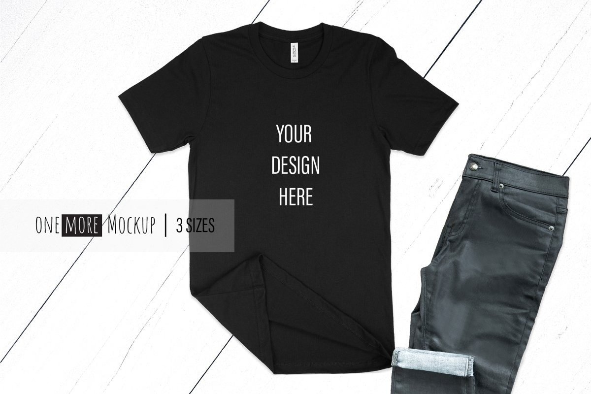 Black TShirt Mockup | Bella Canvas 3001 Black example image 1