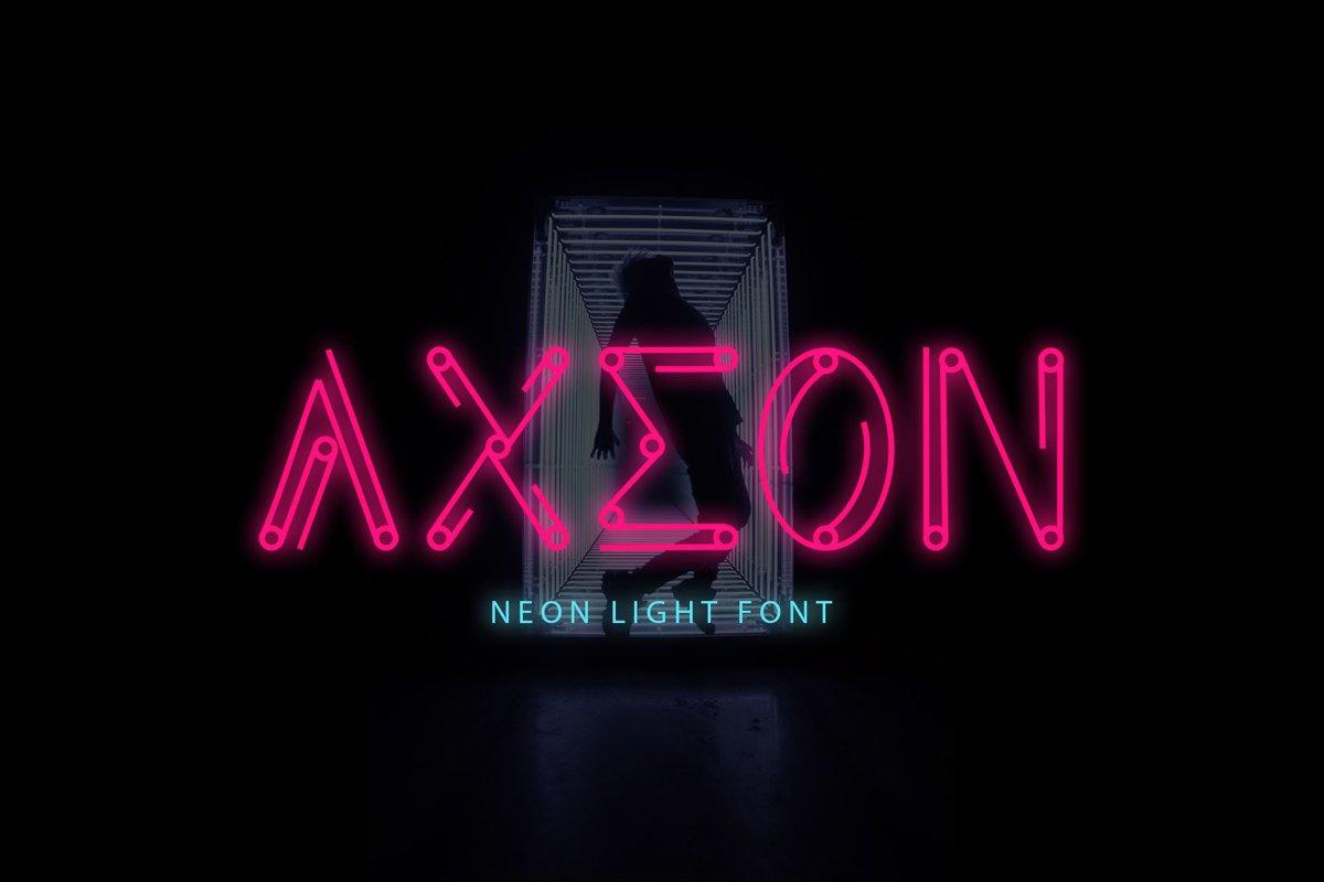 Axeon - Neon Light Font example image 1