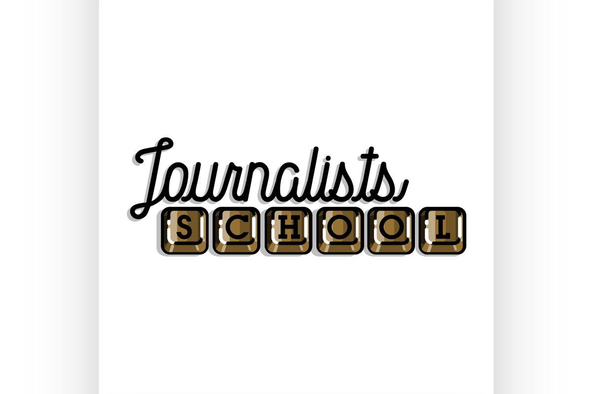 Color vintage journalists school emblem example image 1