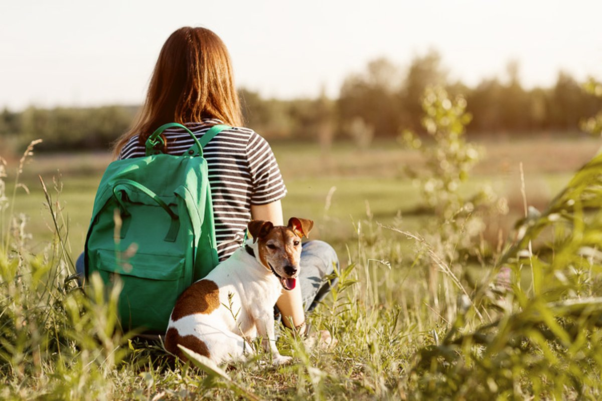 A girl with a green backpack on her back hugs a dog example image 1