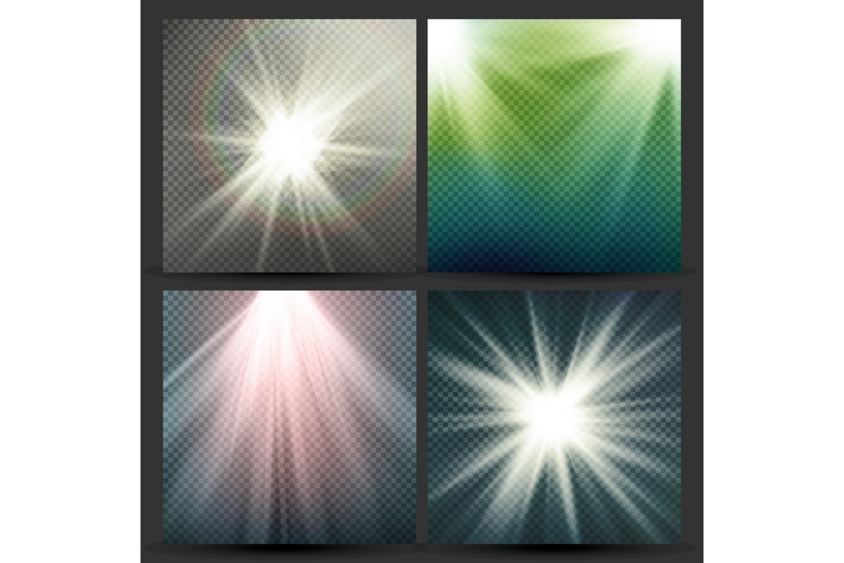 Light Beam Rays Vector Set. Sun Flash With Rays. Glow Light example image 1