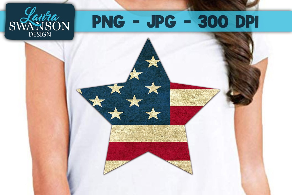 Patriotic Star PNG, JPG, Sublimation, PrintnCut example image 1