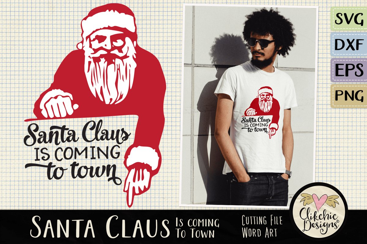 Christmas SVG - Santa Claus Word Art & Vector Clipart example image 1