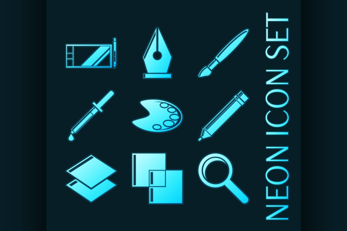 Set of Design Blue glowing neon icons example image 1