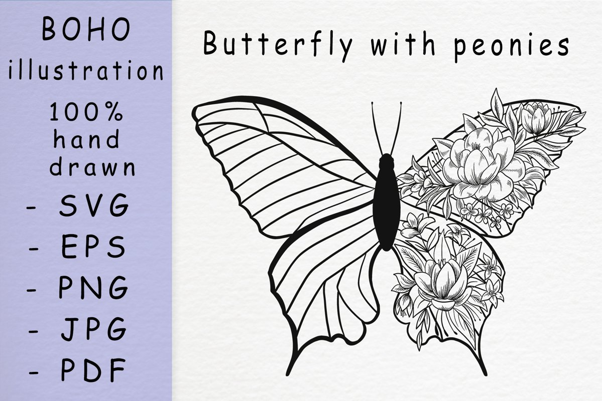 Boho illustration / Butterfly with peonies example image 1