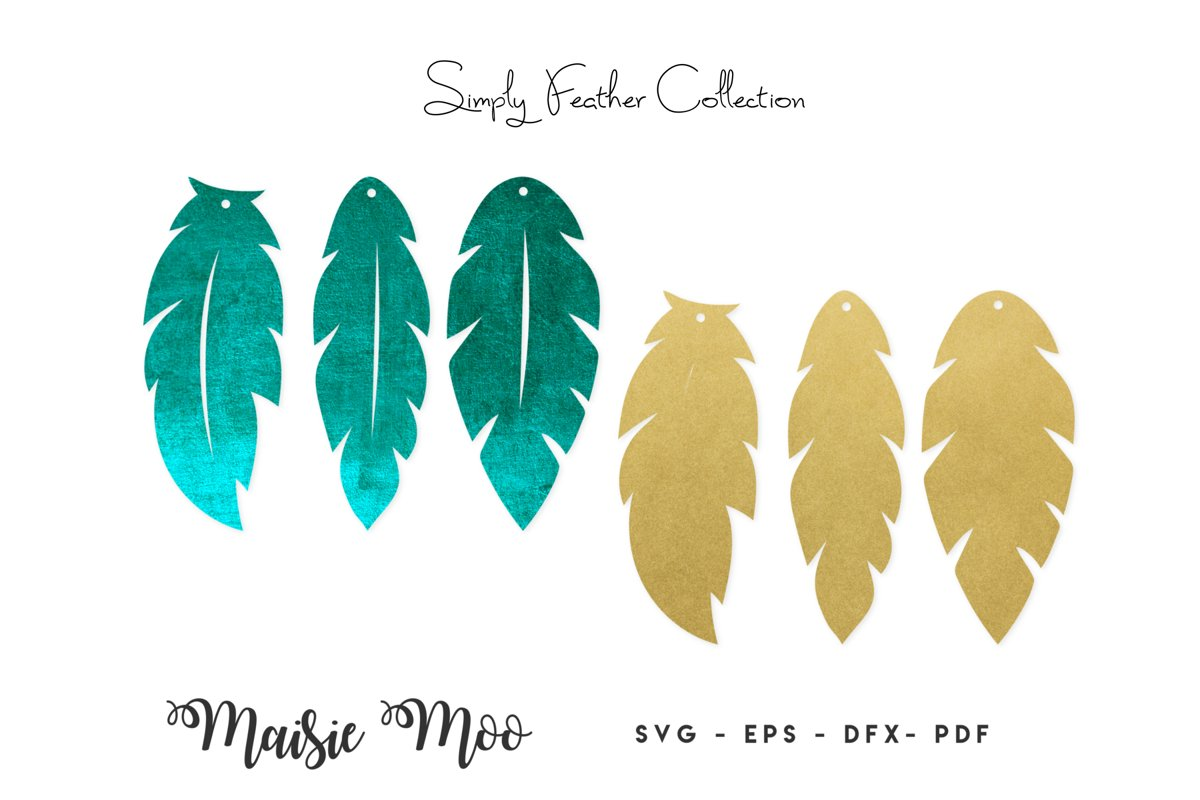 Feather Earring Templates | Feather Earring SVG | example image 1