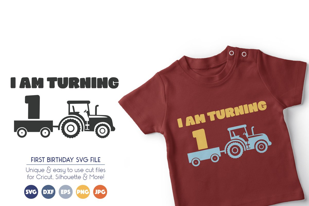 Farm Birthday SVG Files - I Am Turning One example image 1