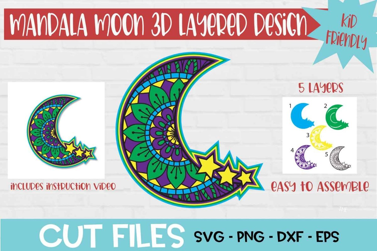Download Moon Mandala 3D Layered SVG Design