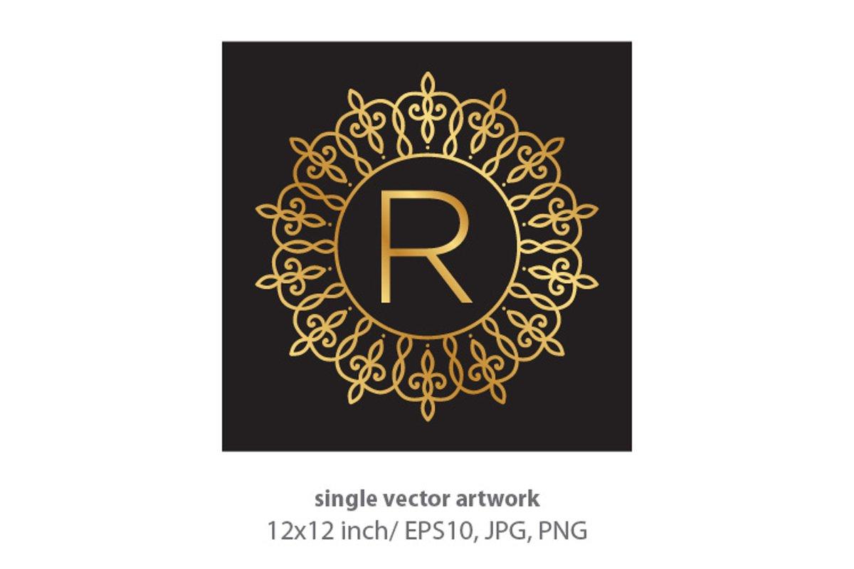 Letter r, inside luxury frame example image 1