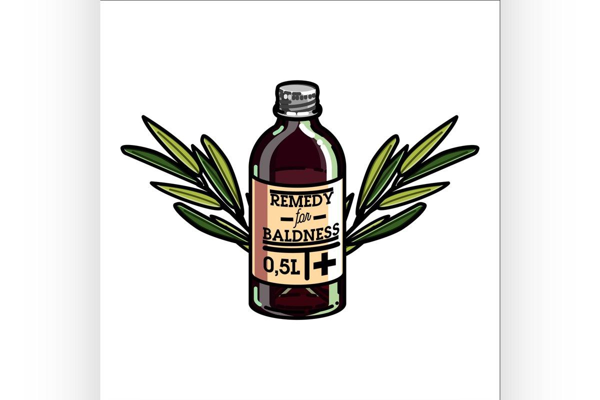 Color vintage remedy for baldness emblem example image 1