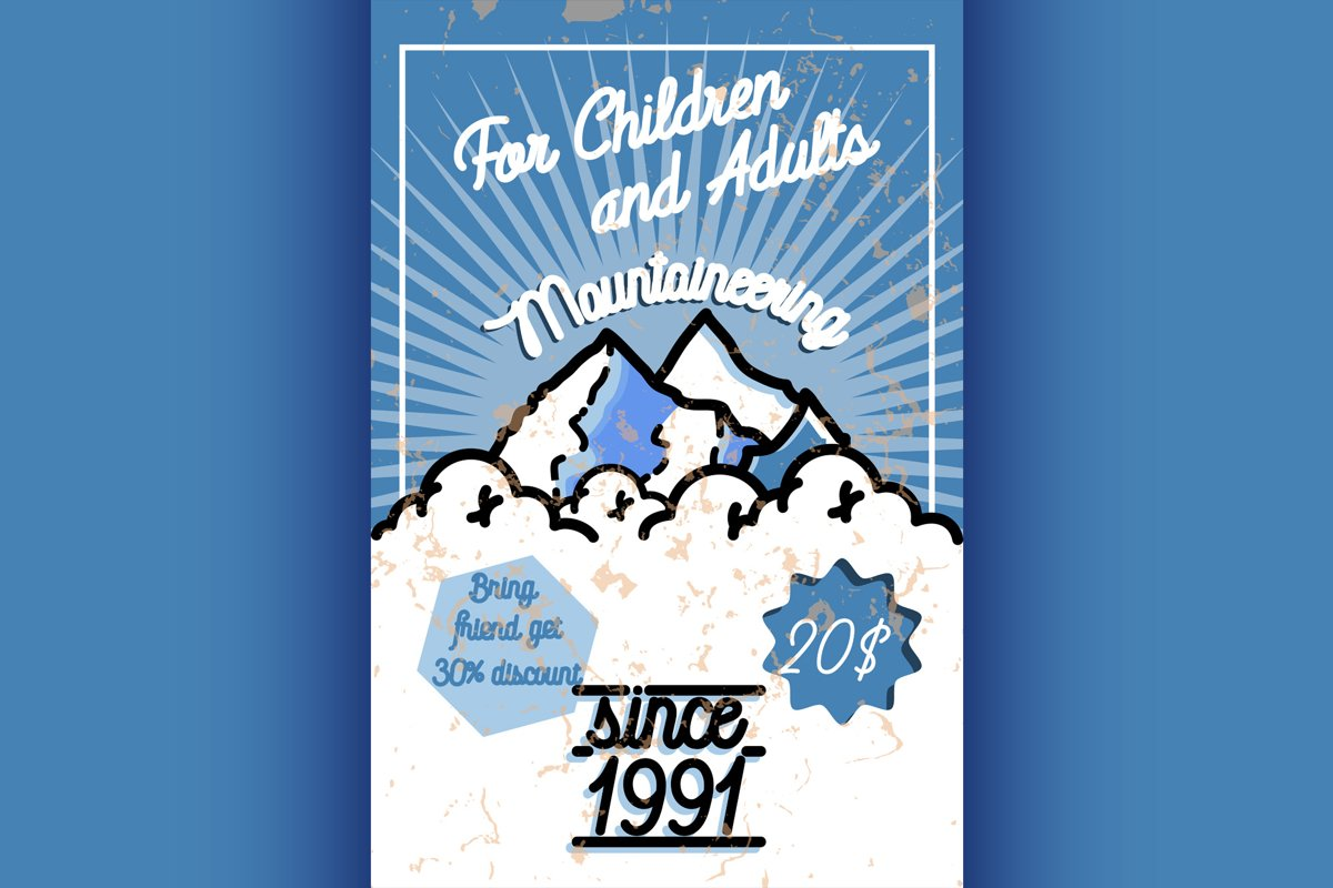 Color vintage mountaineering poster example image 1