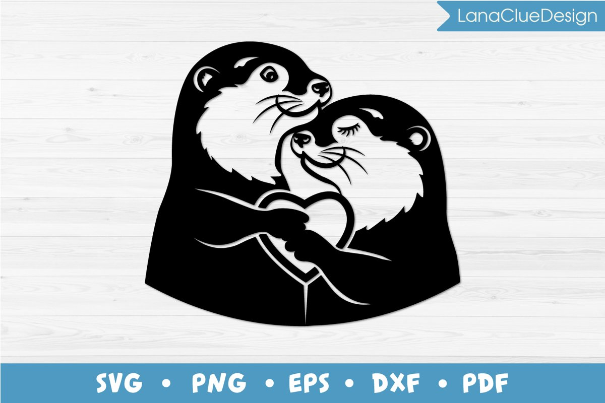 Otters Love SVG, Silhouette Cut File example image 1
