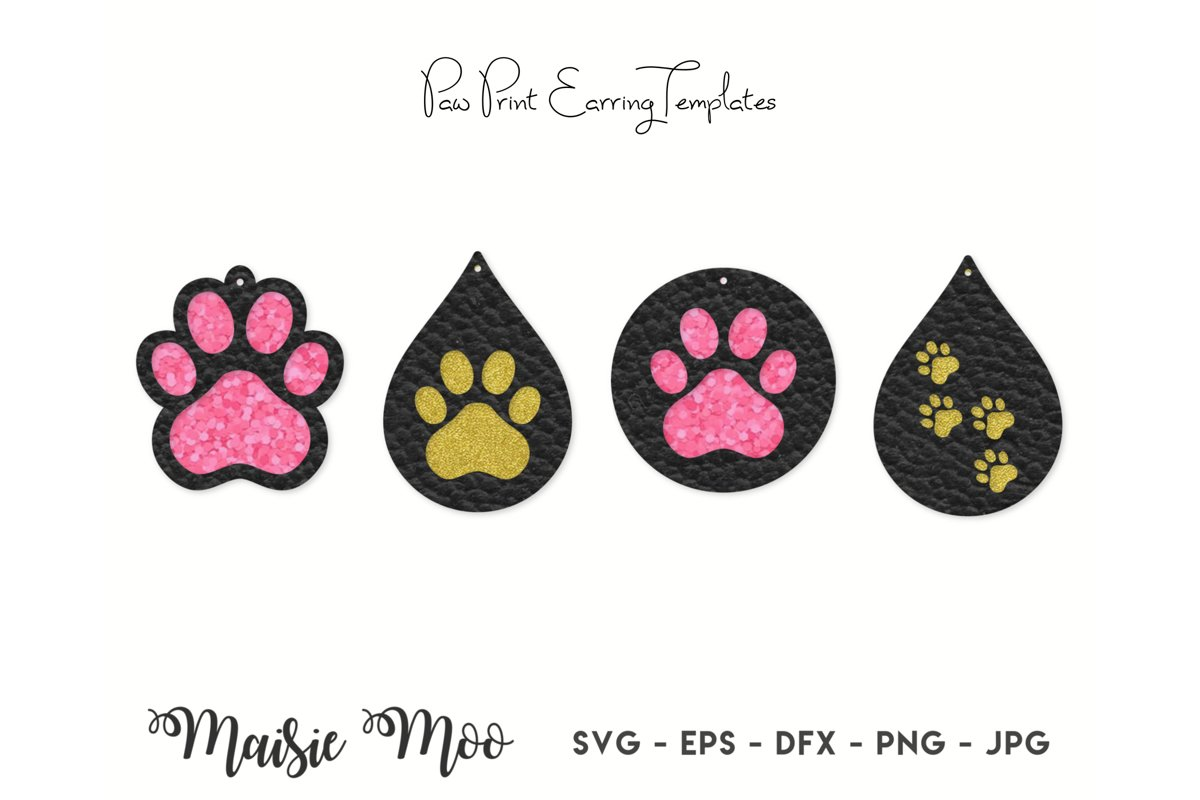 Paw Print Earring SVG | Faux Leather Earring Templates example image 1