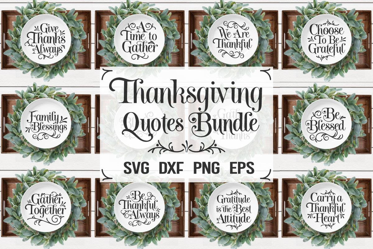 Thanksgiving Bundle Svg, Thanksgiving Quotes, Fall Quotes example image 1