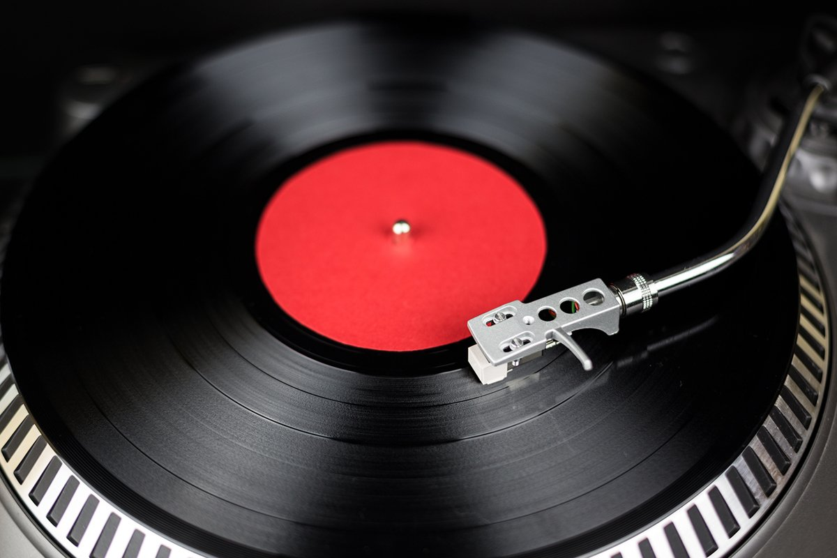 Professional party djs turntable on black background example image 1