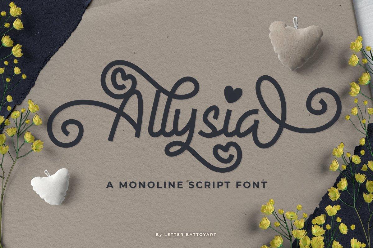 Allysia - a monoline script font example image 1
