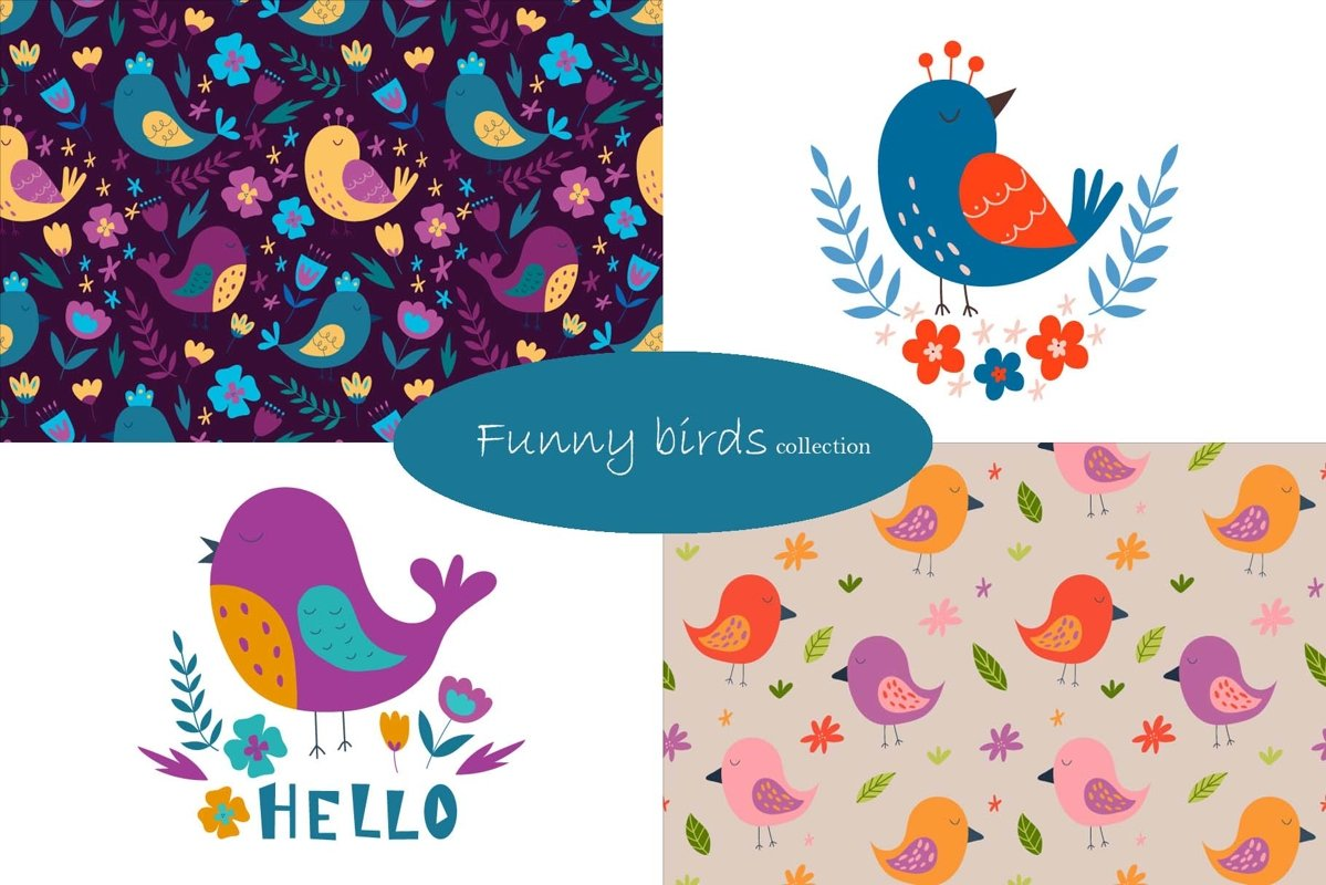 Funny birds collection. Patterns and illustration. example image 1