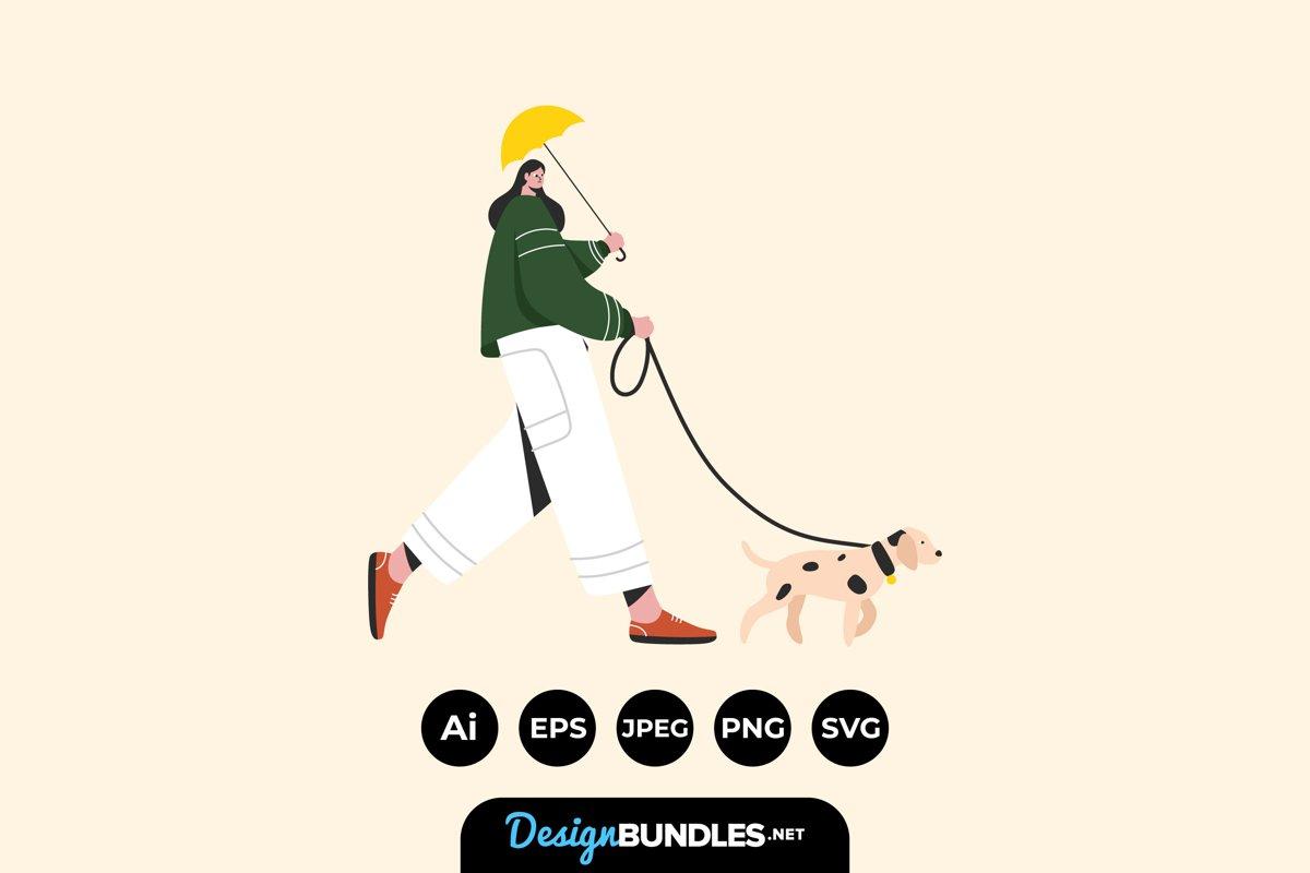 Walking The Dog Illustrations example image 1