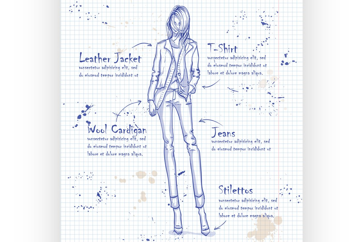 Trendy look on a notebook page example image 1