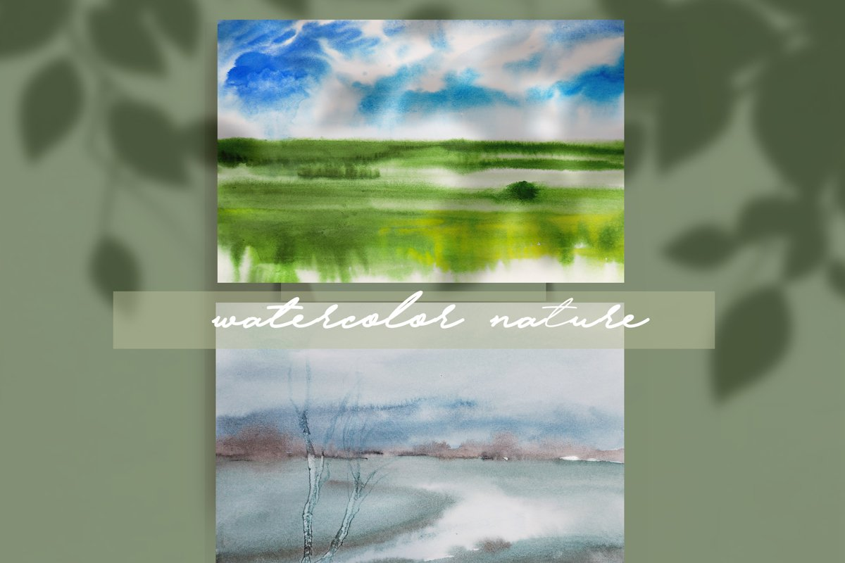 watercolor nature and landscape summer example image 1
