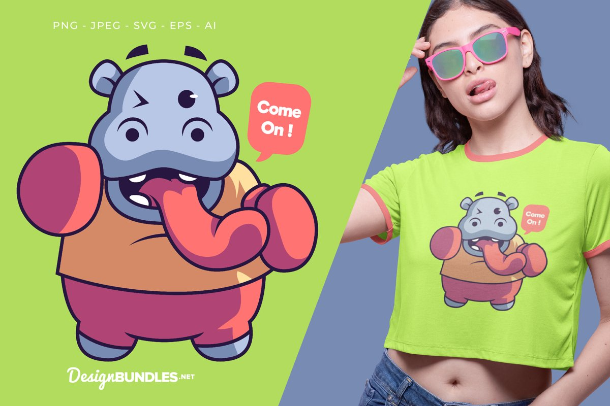 Hippo The Boxer Vector Illustration For T-Shirt Design example image 1