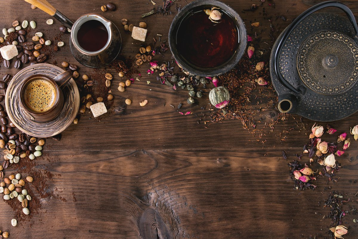 Assortment of tea and coffee as background example image 1