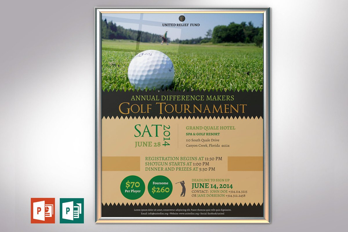 Charity Golf Tournament Poster PowerPoint Publisher Template example image 1