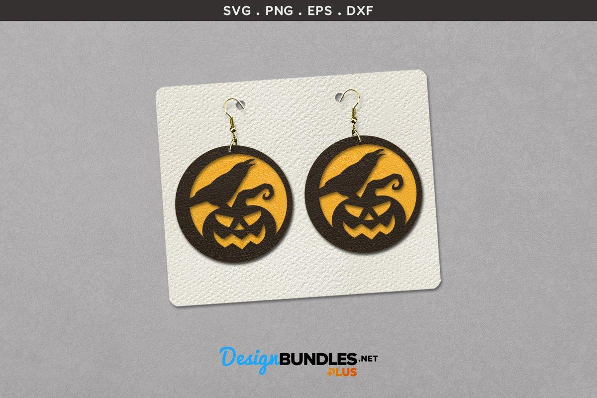 Halloween Earrings Template   Crow on pumpkin example image 1