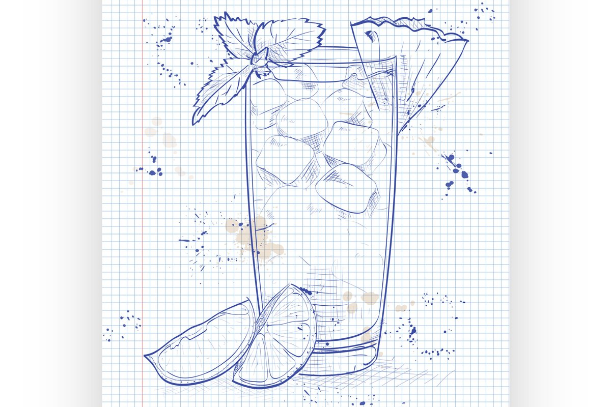 Cocktail Mai Tai on a notebook page example image 1