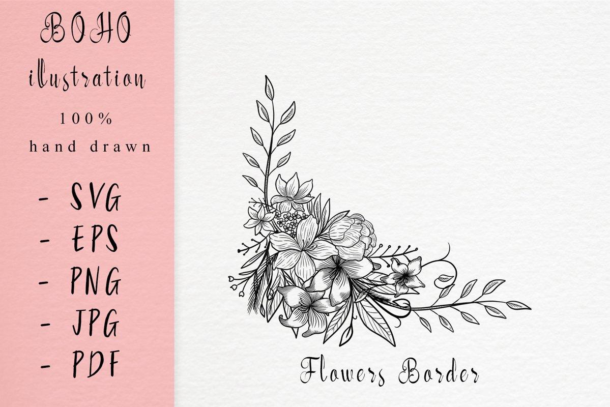 Boho illustration /flower frame example image 1