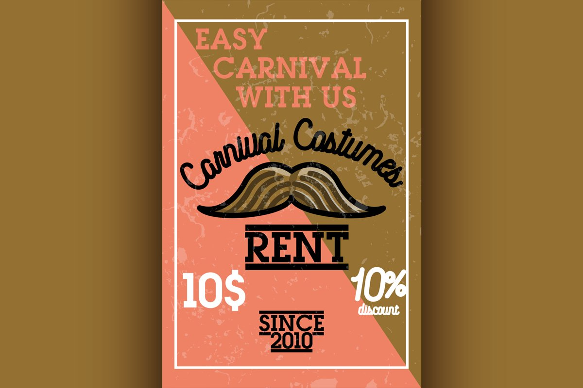 Color vintage carnival costumes rent banner example image 1