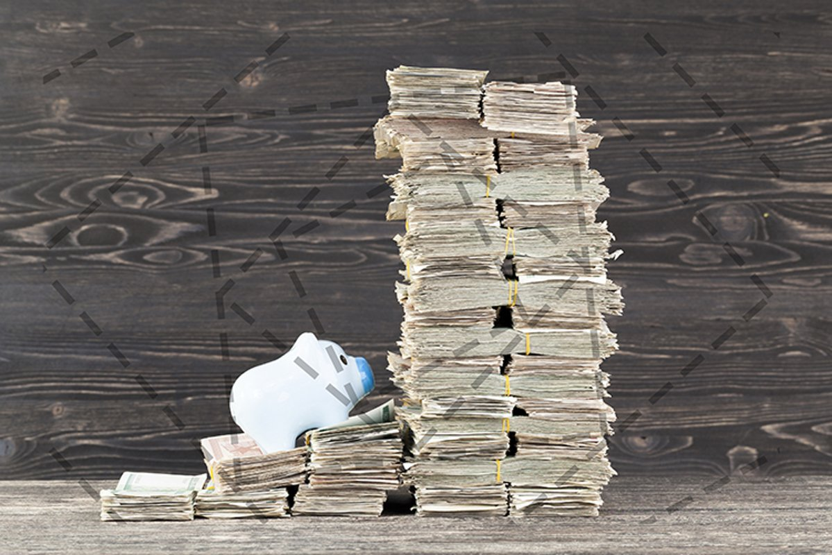 a tower with a lot of paper money example image 1