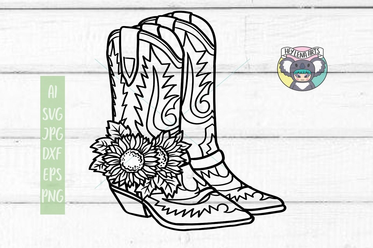 Sunflower svg, Cowboy Boots svg, Files for Cricut, Cut File example image 1