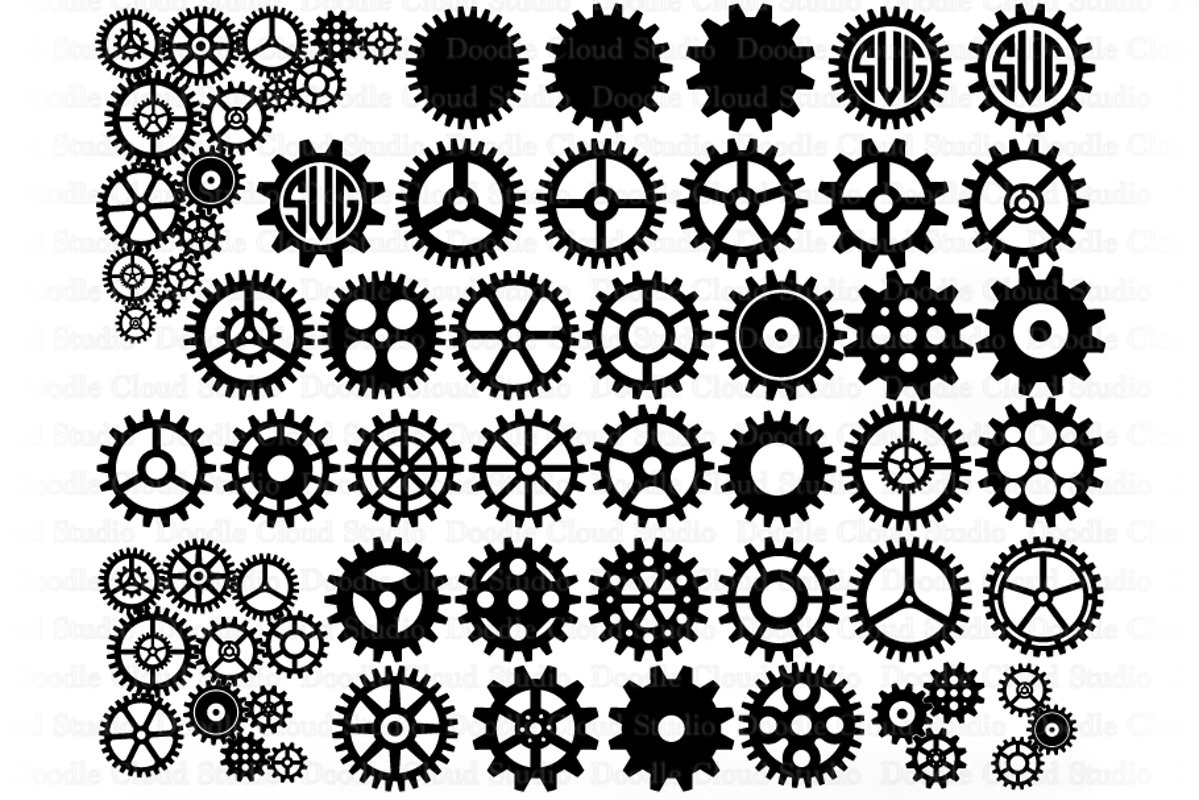 Cogs and Gears SVG, Gears Bundle SVG Cut Files, Steampunk. example image 1